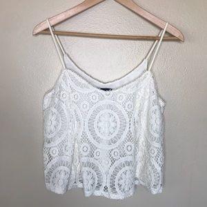 American Eagle crop lace cami Size M